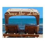 Ahorre la silla de playa de la fecha tarjetas postales