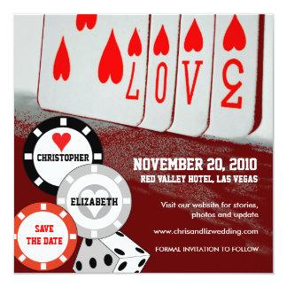 """Ahorre la tarjeta 3 del casino del amor de la invitación 5.25"""" x 5.25"""""""