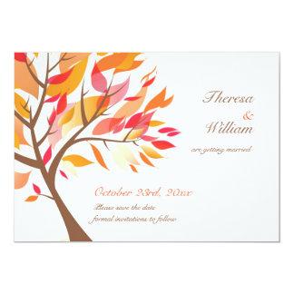 Ahorre la tarjeta plana del árbol del tema del invitación 12,7 x 17,8 cm