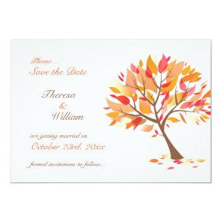 """Ahorre la tarjeta plana del árbol del tema del invitación 5"""" x 7"""""""