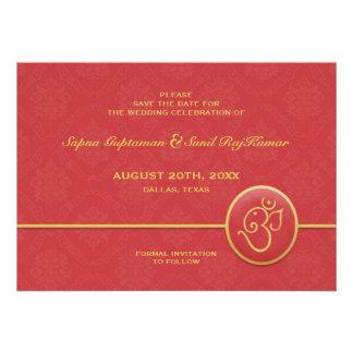 Ahorre la tarjeta plana del estilo indio de la fec invitación personalizada