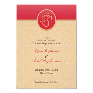 Ahorre la tarjeta plana del estilo indio de la invitaciones personales