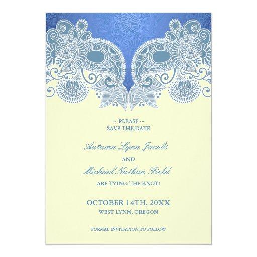 """Ahorre la tarjeta plana floral azul del Victorian Invitación 5"""" X 7"""""""