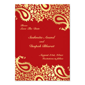 Ahorre la tarjeta plana india elegante de Paisleys Invitacion Personalizada