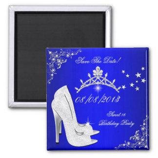 Ahorre la tiara azul de los zapatos de los tacones imán cuadrado