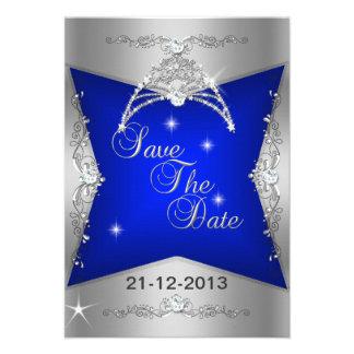 Ahorre la tiara de plata del azul del dulce 16 de anuncios