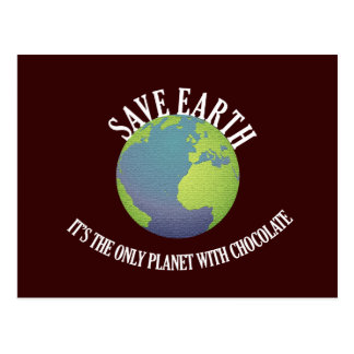 ahorre la tierra que es el único planeta con el postales