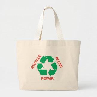 Ahorre la tierra - recicle, reutilice, repare bolsa tela grande