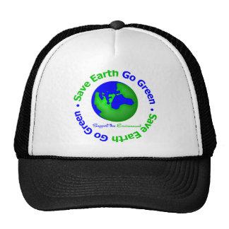 Ahorre la tierra van ayuda verde el ambiente gorras