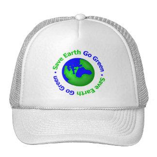 Ahorre la tierra van circular verde gorras de camionero