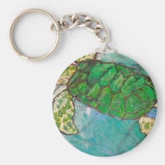Ahorre la tortuga de mar llavero redondo tipo pin