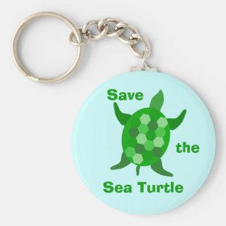 Ahorre la tortuga de mar llaveros