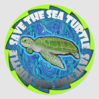Ahorre la tortuga de mar pegatina redonda
