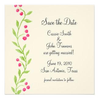 Ahorre la vid de la baya del rosa del cuadrado de invitación personalizada