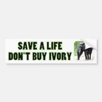 Ahorre la vida de un elefante, no compre la marfil pegatina para auto