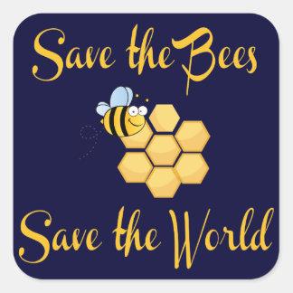 Ahorre las abejas ahorran el mundo pegatina cuadrada