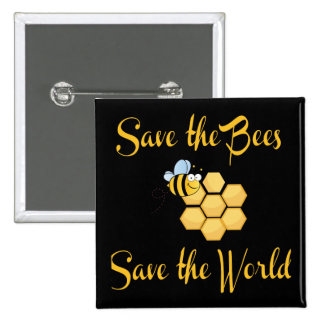 Ahorre las abejas ahorran el mundo pin cuadrada 5 cm