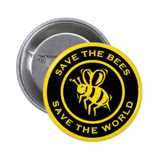 Ahorre las abejas ahorran el mundo pin redondo 5 cm