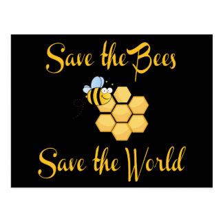 Ahorre las abejas ahorran el mundo tarjetas postales