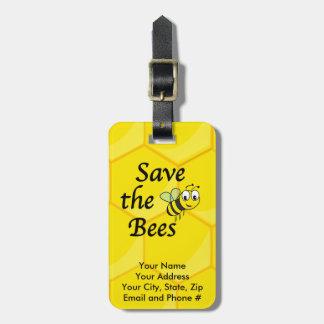 Ahorre las abejas etiquetas de maletas