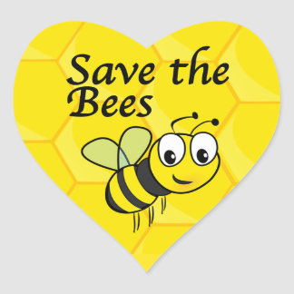 Ahorre las abejas pegatina en forma de corazón