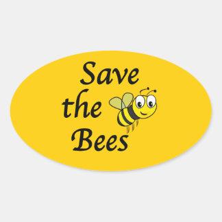 Ahorre las abejas pegatina ovalada