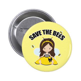 Ahorre las abejas pin redondo de 2 pulgadas