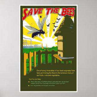 Ahorre las abejas - poster del estilo del vintage