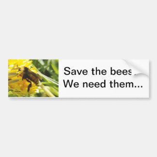 Ahorre las abejas que las necesitamos pegatina par pegatina de parachoque