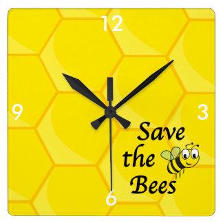 Ahorre las abejas reloj cuadrado
