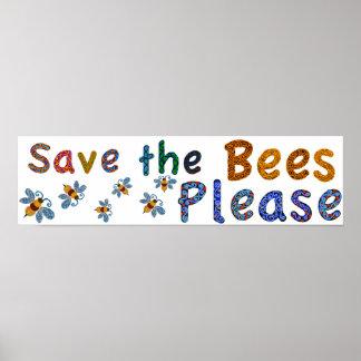 Ahorre las abejas satisfacen el poster de la sala