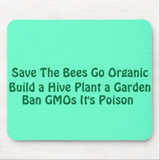 Ahorre las abejas van orgánico alfombrilla de ratón