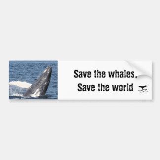 Ahorre las ballenas, ahorre el mundo pegatina de parachoque