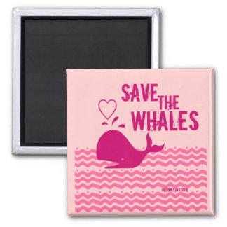 Ahorre las ballenas - ambientalmente conscientes imán cuadrado