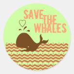 Ahorre las ballenas - ambientalmente conscientes pegatina redonda