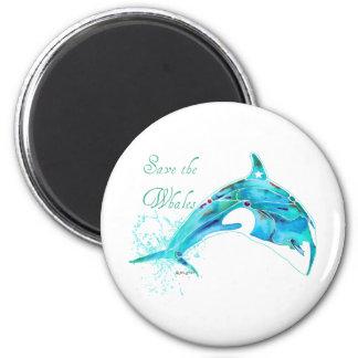 Ahorre las ballenas azules imán redondo 5 cm