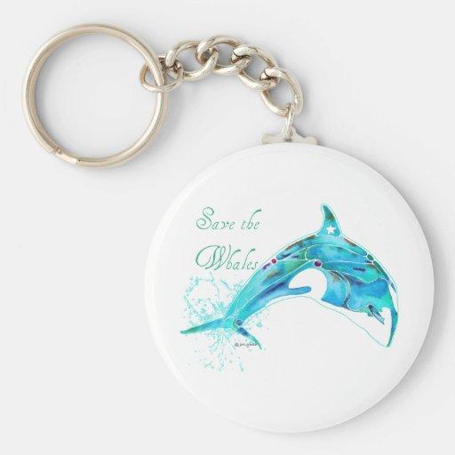 Ahorre las ballenas azules llavero redondo tipo pin