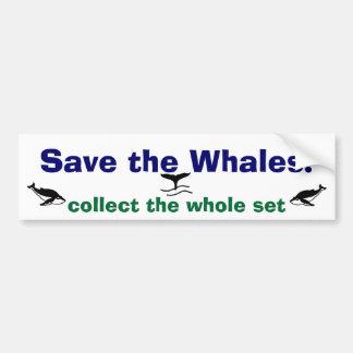 ¡Ahorre las ballenas! Pegatina Para Auto