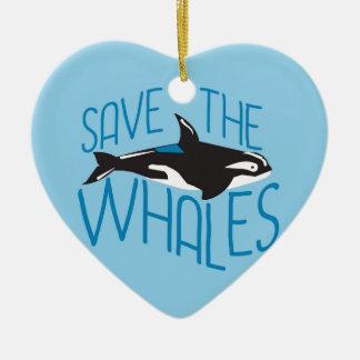 Ahorre las ballenas ornamento de navidad