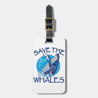 Ahorre las ballenas etiqueta para equipaje