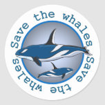 Ahorre las ballenas etiqueta redonda