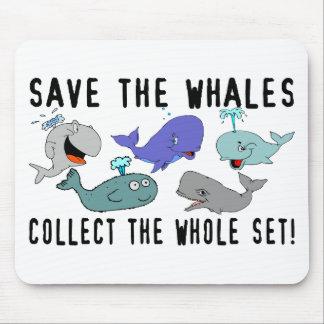 Ahorre las ballenas fijadas tapetes de ratón