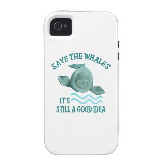 AHORRE LAS BALLENAS Case-Mate iPhone 4 FUNDAS