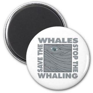 Ahorre las ballenas imán redondo 5 cm