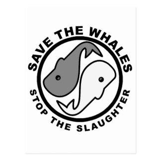 Ahorre las ballenas - los derechos de los animales tarjeta postal