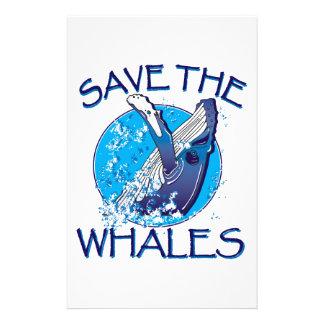 Ahorre las ballenas papelería de diseño