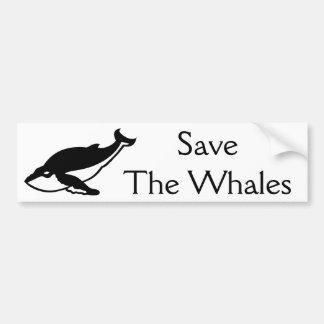 Ahorre las ballenas pegatina para auto