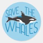 Ahorre las ballenas pegatina redonda
