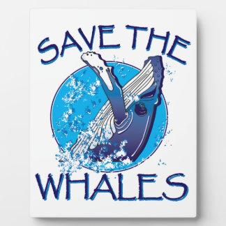 Ahorre las ballenas placa para mostrar