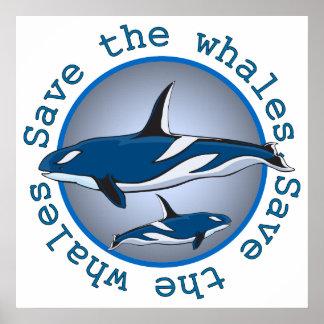 Ahorre las ballenas póster